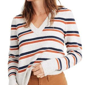 Madewell BNWT v-neck womens sweater NEW striped